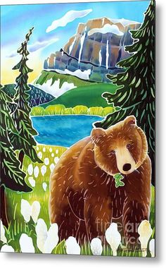 Bear In The Beargrass Metal Print By Harriet Peck Taylor