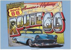 Greetings from Route 66 , Vintage Advertising postcard - poster reproduction. Photo Postcards, Vintage Postcards, Vintage Labels, Vintage Photos, Las Vegas, Old Route 66, Tourist Info, High Definition Pictures, Garage Art