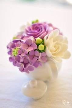 Couture Clay - Mini Teapot with Gardenias, Roses, Hipericum Berries and Hydrangeas in Purples, Whites and Greens