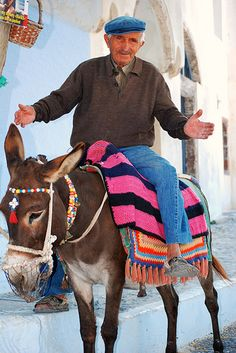 riding a donkey in Santorini, Greece