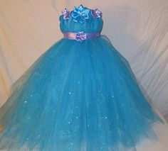 Sparkly Blue with Light Purple Ribbon Tutu Dress: Flower Girl, Birthday, Wedding, Photo Prop., Purple, Satin Ribbon, Light Purple Ribbon