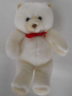 """Vtg Animal Fair White Teddy Bear Korea Red Bow 12"""" Small #7375A Plush Stuffed #AnimalFair"""
