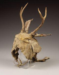 American Indian Art, A YAQUI HIDE AND HORN HEADDRESS. . c. 1880. ...