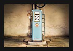 Quadro Decorativo Pequeno Vintage Bomba de Gasolina Shell Antiga 30x20cm - Decore Pronto