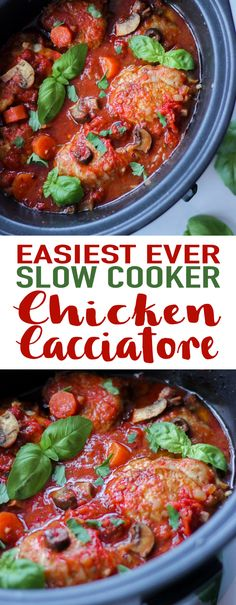 Slow Cooker Chicken Cacciatore Recipe - This easy crock pot dinner recipe is simple to prepare and bursting with flavour. Chicken thighs are braised in a tomato sauce with basil, oregano, olives, onions and mushrooms. Perfect served with pasta, rice or mashed potatoes. This also freezes really well. via @tamingtwins