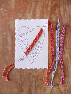 Easy friendship bracelet Valentine's DIY by jess smith, maine You can make these with friendship bracelets from ClamBoneBracelets.etsy.com