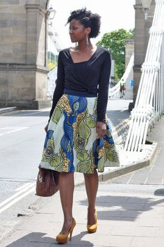 Beautifully cut fully lined skirt in luxurious African print fabric, by Tina Lobondi. Available from Sapelle.com for £95