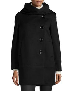 Cocoon+Wool-Blend+Coat,+Black++by+Sofia+Cashmere+at+Neiman+Marcus.