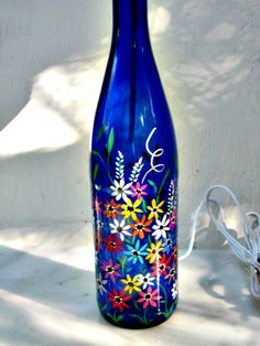 Bottle Light, Recycled Tall Blue Wine Bottle, Lamp, Night Light, Hand Painted Garden Flowers on Etsy, $22.00