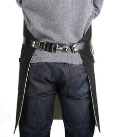 Hardmill-Black-Denim-Apron...do this instead of tie-back on my racing/tire-grinding aprons??