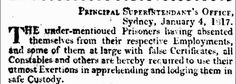 NSW List of Absconded Prisoners - Dated 4 January 1817