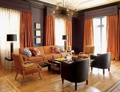 orange-color-interior-design  - DINING ROOM (orange, grey, brown, black, metals)