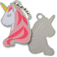 Unicorn Tavel Tag by Unicorn. $4.99. A unicorn is a mythological creature. It comes from the Latin terms -unus 'one' and cornu 'horn'. The unicorn is symbolic of chastity or purity. It is usually portrayed as a slender, white horse with a spiraling horn on its forehead, although its appearance and behavior differs, depending on the location. It is large enough to be seen, but sized just right to fit in a 35mm container.  Activation codes at CoinCodes.com  For more info...