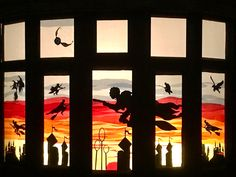 Transform everyday streets into magical, outdoor galleries Christmas Window Display Home, Christmas Window Decorations, Window Art, Window Ideas, Tissue Paper Art, We Are Festival, Advent Calenders, Halloween Silhouettes, Display Homes