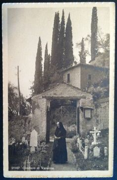Vintage Woman with Rosary in Old Cemetery Varenna Italy Postcard