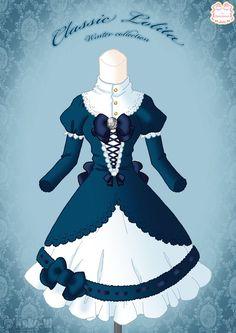 Classic Lolita Winter Dress by *Neko-Vi