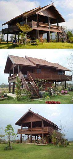 Thai house ThaiLanna Home, buy your own (TEAK-wooden) house in Thailand! Tropical House Design, Simple House Design, Tropical Houses, Village House Design, Bungalow House Design, Thailand Outfit, Thailand Art, Krabi Thailand, Bangkok Thailand