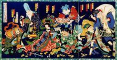 豊原国周:七福神宝の酒盛