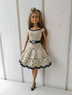 Dress for Barbie. Clothes for Barbie or similar. Crochet clothes for doll. by OdejdaKykle on Etsy Dress for Barbie. Clothes for Barbie or similar. Crochet clothes for doll. by OdejdaKykle on Etsy Crochet Barbie Patterns, Crochet Doll Dress, Barbie Clothes Patterns, Crochet Barbie Clothes, Doll Clothes Barbie, Dress Patterns, Barbie Doll, Crochet Skirts, Doily Patterns