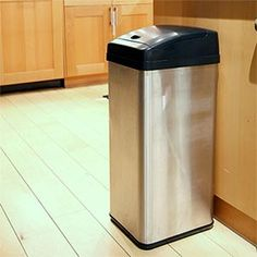 This is a trash can that has a motion censor! You don't have to touch it at all.  :-)