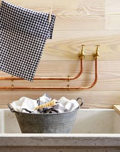 paint pipes with copper paint? Laundry Mud Room, Copper Bathroom, Decor, Home Organisation, Timber Kitchen, Interior, Kitchen Interior, Interior Design Kitchen, Kitchen Cupboards