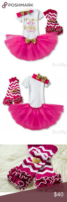 It's my 1st Birthday Outfit - NWT Nwt. 4pc Outfit. Including leg warmers, headband with gold bow, pink tutu with gold bow, and white onesie that says It's my 1st Birthday in front in gold and pink lettering. Shirts & Tops