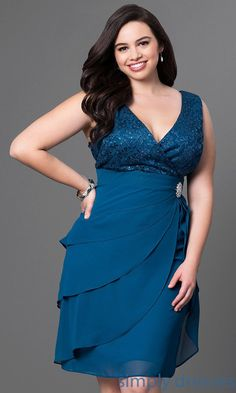 Shop plus-size short burgundy party dresses at Simply Dresses. Lace-bodice v-neck dresses under $100 with tiered skirts and lace bolero jackets.