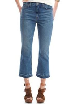 Free People Blue Cropped Bootcut Jeans