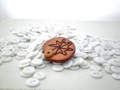 Wood Brown Leaf Button Brooch The Maple Brooch by P8ButtonArt, €14.00