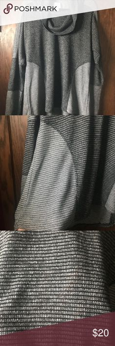 DRESSBARN Sunday lightweight sweater XL This beautiful gently loved black and gray lightweight sweater would look great with leggings because it has the length to cover the booty. It has a  cowl neck and legs no sleeves. It has no snags or runs. It's been gently worn and never in the dryer. 58% polyester, 40% rayon, and 2% spandex. Dress Barn Sweaters Cowl & Turtlenecks