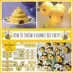 How to Throw a Bumblebee Party. I love the beehive cake and caramel apples.