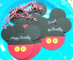 Happy Birthday Mickey Mouse Hand Stamped Gift Tag