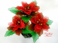 Items similar to Beautifully Christmas gift. Handcraft nylon fabric red flower and green leaves. Floral arrangement on Etsy Nylon Flowers, Flora Flowers, Satin Flowers, Diy Flowers, Flower Decorations, Fabric Flowers, Christmas Decorations, Flower Background Wallpaper, Flower Backgrounds