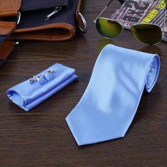 8 Colors Casual Slim Plain Solid Skinny Neck Party wedding Tie Necktie Tie Hanky Cufflink Set
