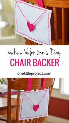 Make this Pottery Barn knock off Valentine's Day chair backer and fill it with treats on Valentine's Day!