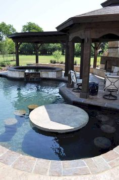 44 Stunning Swimming Pool with Water Bar Design Ideas and Outdoor # Backyard Pool Landscaping, Backyard Pool Designs, Swimming Pools Backyard, Swimming Pool Designs, Backyard Ideas, Modern Backyard, Kids Swimming, Back Yard Pool Ideas, Backyard With Pool