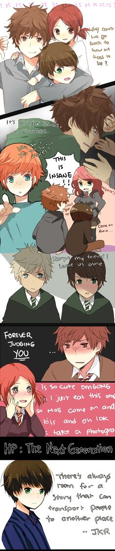 This anime version of cursed child is so cute - Albus and cie Harry Potter Images, Harry Potter Anime, Harry Potter Fan Art, Harry Potter Universal, Harry Potter Fandom, Harry Potter World, Harry Potter Hogwarts, Albus X Scorpius, Albus Severus Potter