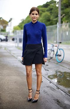 oh! I love the cut of this colbalt sweater and great skirt!