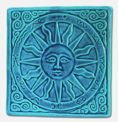 Summer Sun Art Tile Home Wall Decor Zodiac Handmade Relief Carved Pottery Ceramic Turquoise Blue, via Etsy.