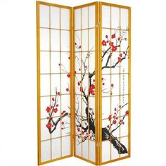 Oriental Furniture Three Panel Flower Blossom Room Divider (€135) ❤ liked on Polyvore featuring home, home decor, panel screens, flower stem, folding screen, flower home decor, black white home decor and white home decor