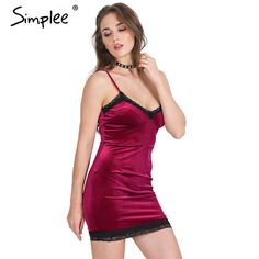 Simplee merletto del Velluto del vestito Sexy delle donne fringe vestito aderente Elegante vestito rosso del partito di sera vestiti corti 2016 abiti