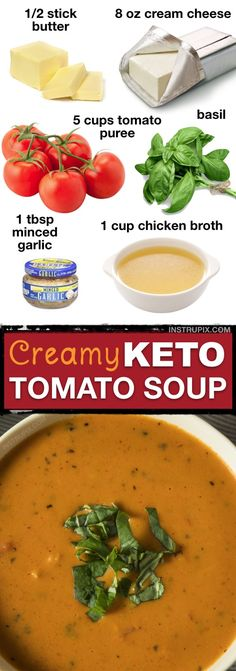 Home Made Doggy Foodstuff FAQ's And Ideas 7 Easy Low Carb Soup Recipes Keto Friendly This Low Carb Creamy Tomato Soup Is So Easy And Delicious Instrupix Low Carb Soup Recipes, Ketogenic Recipes, Diet Recipes, Healthy Recipes, Lunch Recipes, Salad Recipes, Protein Recipes, Sweets Recipes, Creamy Soup Recipes