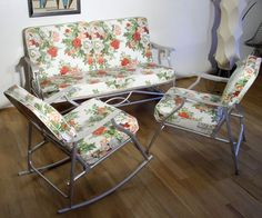 Vintage patio furniture that used to belong to Scott's Great Grandmother. Late 60's ... Mick passed them down to us. :)