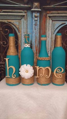 Decorated wine bottles hand painted set of by TheMuseCreations #decoratedwinebottles Wine Bottle Art, Glass Bottle Crafts, Diy Bottle, Bottles And Jars, Glass Bottles, Wine Bottles Decor, Decorative Wine Bottles, Crafts With Wine Bottles, Wrapped Wine Bottles