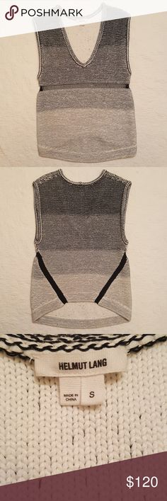 Helmut Lang sweater Helmut Lang sweater. Sleeveless. Amazing texture and thicker weight.  Unique back line that is slightly higher than front.  Length from top of shoulder to bottom 25 inches. Pit to pit flat 17 inches. Arm opening 10 inches. No holes or stains. Helmut Lang Sweaters