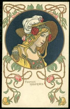 Art Nouveau Femmes Modernes Woman in Summer Hat UB Artist Postcard   eBay