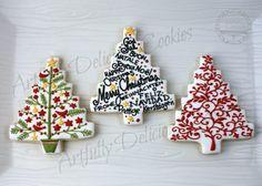 CookieCrazie: More Homespun Tree Cutter Cookies Elegant Christmas Trees, Christmas Tree Cookies, Christmas Cupcakes, Cute Cookies, Christmas Treats, Christmas Baking, Christmas Cookies, Christmas Time, Fancy Biscuit