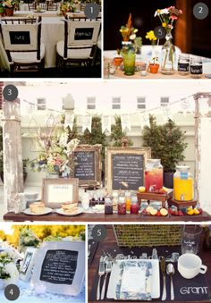 Pinned this for the pic in middle with columns flanking the buffet table  could have craft paper banner between?