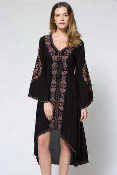 Plunging Neck Embroidered High-Low Hem Maxi Dress BLACK: Maxi Dresses | ZAFUL