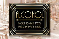 Gatsby Bar Decor Alcohol Sign, 8 x 11 x 16 x size, Gatsby Party, Art Deco Party Supplies - Black and Gold Cards, Art Deco Party, Alcohol Signs, Download Digital, Diy Shops, Gatsby Party, Party Printables, Party Supplies, Handmade Items, Bar